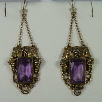 New Zealand Arts & Crafts Jeweller - Elsie Reeve - Amethyst Earrings