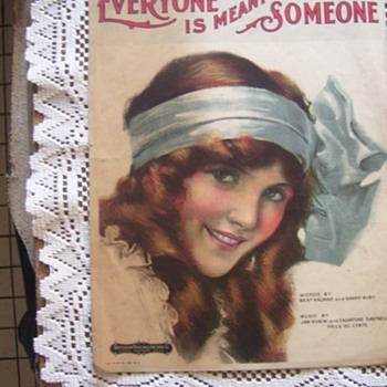 1919 SHEET MUSIC, BEAUTIFUL GIRL LITHOGRAPH BY KNAPP - Paper