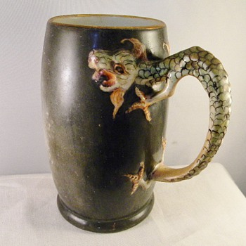 Antique Dragon Handle JP Limoges Japanese Mug Tankard (1890-1935) - Art Pottery
