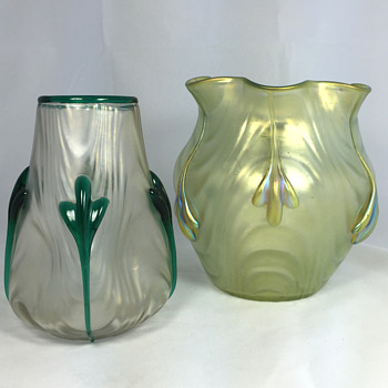 "Two Loetz ""Coppelia"" Vases. Circa 1904. PN II-1746 and PN II-1898"