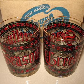 "Houze Art vintage Season Greetings or Happy Holidays ""stained glass"" tumblers"
