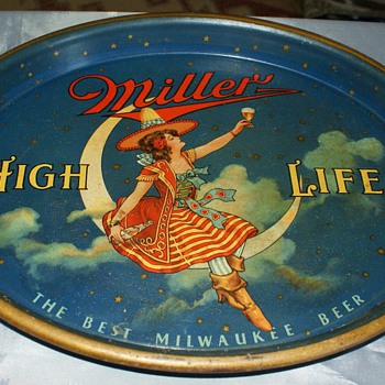 Old Miller High Life girl on moon beer tray - Advertising