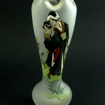 Satin Art Glass Japanese enameled Vase Bohemian? - Art Glass