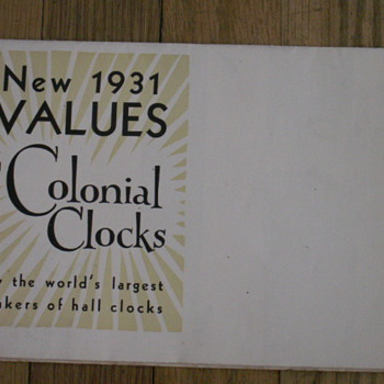 Colonial Clock New 1931 Values - Advertising