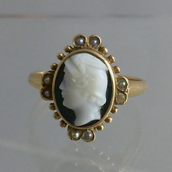 Victorian Seed Pearl Carved Onyx Cameo 10k Ring  - Fine Jewelry