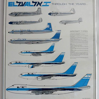 EL AL &quot;Through The Years&quot; Fleet Poster 1990 