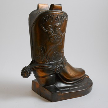 "Yard Sales Find 1 of 10, Die Cast""Roy Rogers Boot Bank""Circa 1950 - Coin Operated"