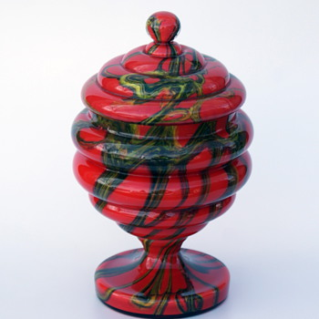 Kralik? swirled or marbled or Kaleidoscope Art Deco Lidded candy jar - Art Glass