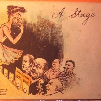1906, FUNNY POSTCARD, KNOBBY-KNEES SHOULD HAVE RETIRED FROM STAGE BEFORE THIS! - Cards