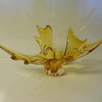 Amber Art Glass Bowl,Circa 1960-70
