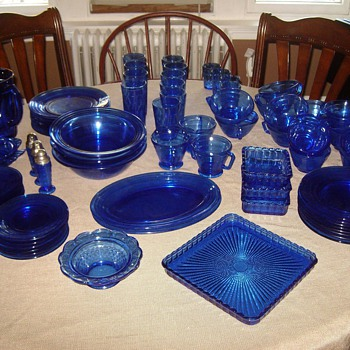 Moderntone Cobalt Depression Glass - Glassware