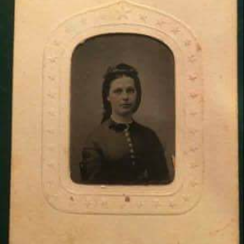 Clara Barton tintype on patriotic frame