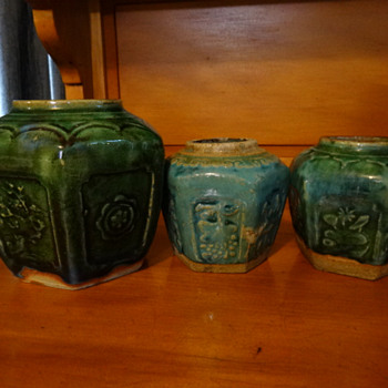 Three Celadon glazed hexagonal ginger jars Australian Goldfields 1800's