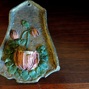 Antique paper mache candle holder