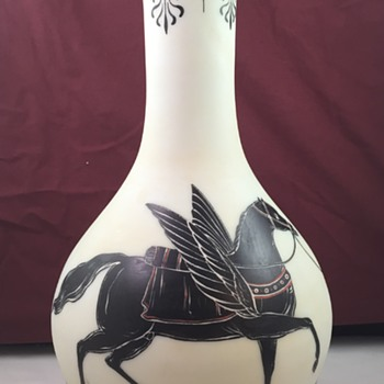 Huge Harrach Antique Revival enameled glass vase, ca. 1860