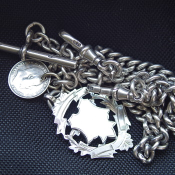 English Pocket Watch Chain Sterling Silver Circa {1913} - Pocket Watches