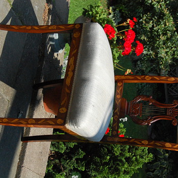 Mahogany lyre back marquetry chair