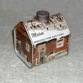 """Maine Maple Syrup"" Log Cabin Tin"