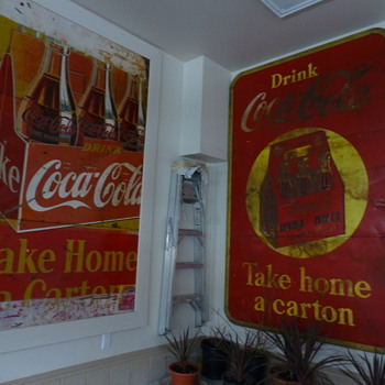 5x8' 1940 Coca-Cola 3-panel tin finally hung-up!! - Coca-Cola