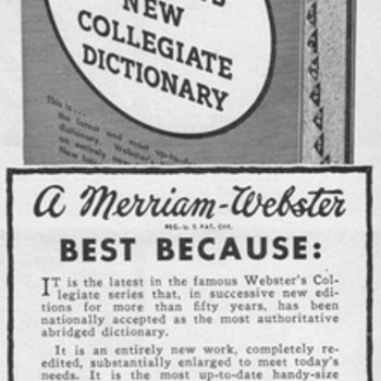 1952 - Merriam Webster Dictionary Advertisement - Advertising
