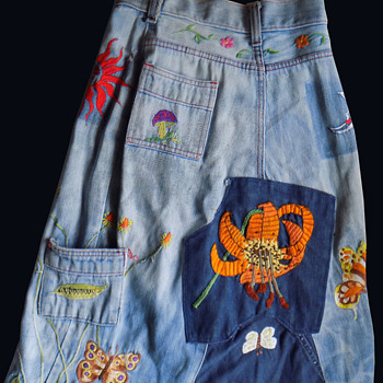 Colorado found original 1960s hippie embroidered denim maxi skirt  - Womens Clothing