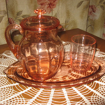 Depression glass-bedside pitcher set?