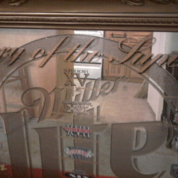 Miller Lite History of the Super Bowl Bar Mirror. - Football
