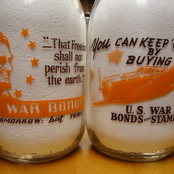 1/2 Gallon Alamito War Slogan Milk Bottles......