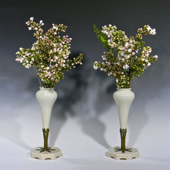 Pair of Pale Pink Opaque Glass MANTLE FLOWER VASES - Art Glass