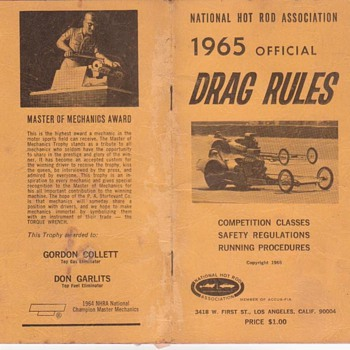 National Hot Rod Association 1965 Official Drag Rules - Books