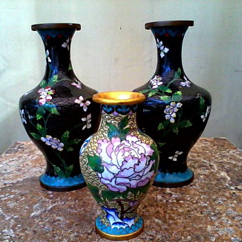 """A Pair Plus One"" Cloisonne Vases /Marked China /Unknown Age"