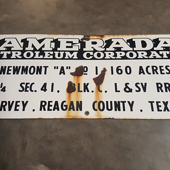 Early porcelain Amerada Hess corporation sign.
