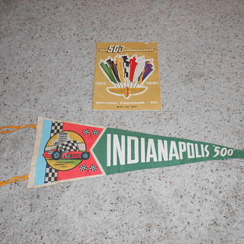 1961 indy 500 banner and program