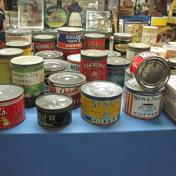Coffee Tins at Renninger's Sunday Morning Antiques Show - Kitchen