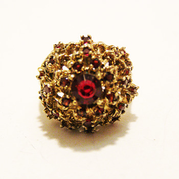 Vintage Panetta Garnet Rhinestone Ring - Costume Jewelry
