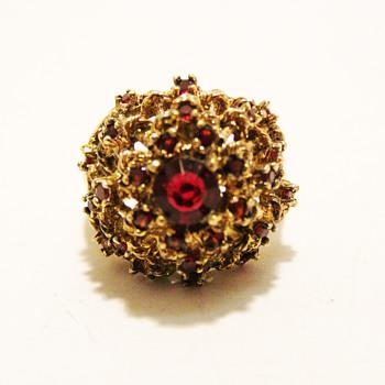 Vintage Panetta Garnet Rhinestone Ring - Costume Jewelry