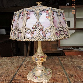 Pink Slag Glass Lamp. - Lamps