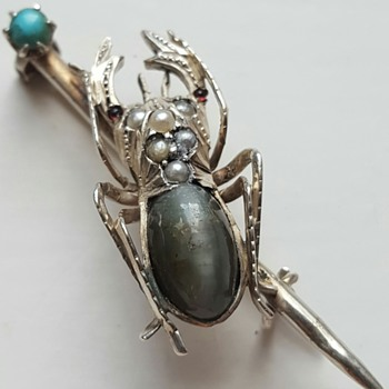Antique beetle bar brooch, silver and cats eye body. And Charlie cat, R.I.P.... - Fine Jewelry