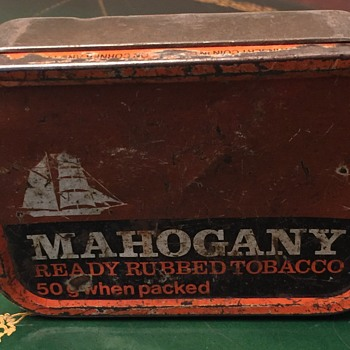 Mahogany ready rubbed tobacco tin.
