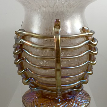 Loetz Schaum Glass vase with Silberiris applications - PN Unknown (after a design by Eduard Prochaska) - Art Glass