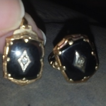 My grandmothers (possibly great-grandmothers) Onyx-Diamond Ring &amp; Pendant - Fine Jewelry