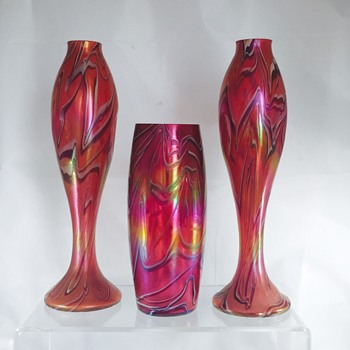 Rare Nouveau Harrach Red Fuschia White Iridescent Trio of Vases
