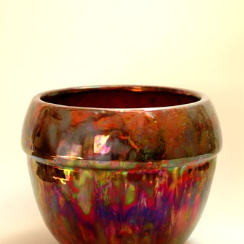 flower pot in metallic glaze by LEON ELCHINGER - Art Nouveau