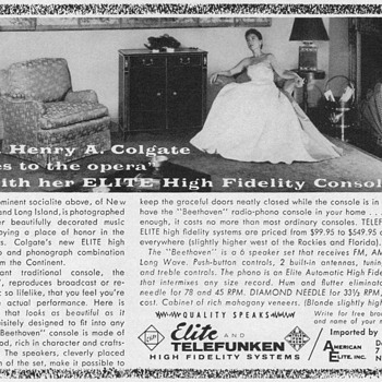 1955 - Elite & Telefunken Radio-Phono Advertisement - Advertising