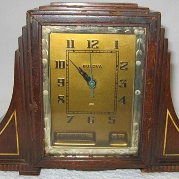Bulova Art Deco Skyscraper Mantle Clock, Model 1107, 1930's