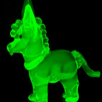 Murano ? Vaseline Glass Donkey - Art Glass
