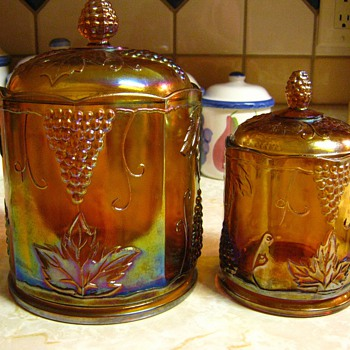 Carnival Glass Jars - Glassware