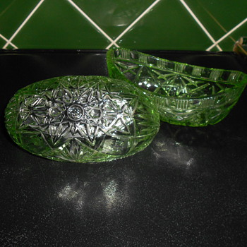 Green Depression(??) Glass Dishes. - Glassware