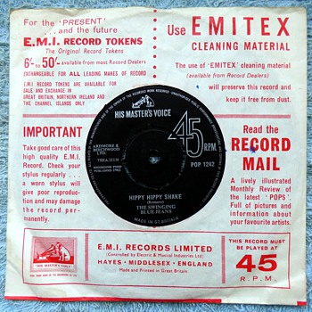 1963/1969-adverts on 45rpm record covers-hmv and columbia-emi. - Records
