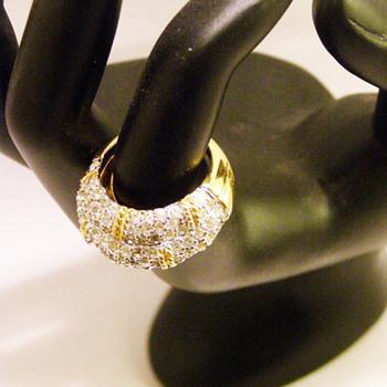 Vintage Joseph Mazer Pavé Rhinestone Ring - Costume Jewelry